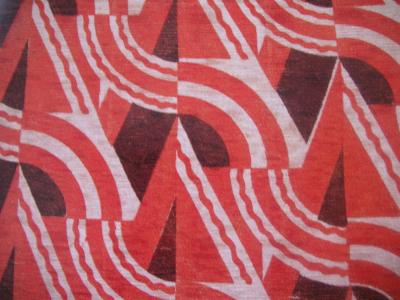 Screen printed cotton and rayon. Design by H J Bull for Allan Walton Textiles, London, UK, 1932.