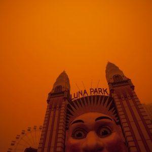 Luna Park Sydney, during dust storm in 2009.
