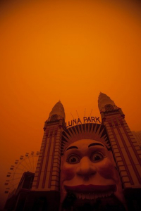 Luna Park Sydney, during dust storm in 2009.