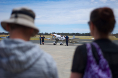 Volunteers preparing the museum's Ryan STM S2 for flight. Developed in the USA as a military training aircraft in the late 1930s, Ryans were used by the RAAF during WWII.