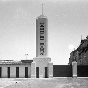 New entrance gates to Harold Park Trotting Ground (for Building Publishing Co) c.1938.