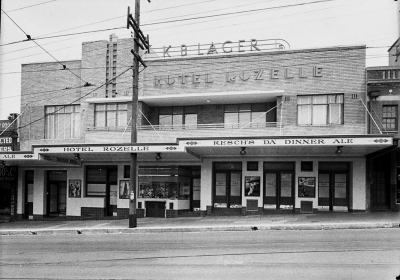 Exterior view of the Hotel Rozelle (for Building Publishing Co) c.1939.