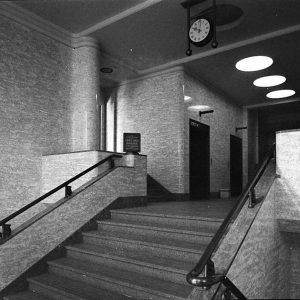 Stairway and lifts, Prudential Building (taken for Building Publishing Co) c.1939.