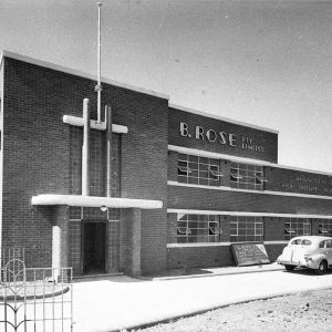 Exterior, B. Rose's plywood factory (taken for Building Publishing Co).