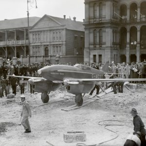 The De Havilland DH.88 Comet 'Grosvenor House', in Martin Place on 12 November, 1934. The plane had just won the England-Australia Air Race sponsored by chocolate maker MacRobertson's.