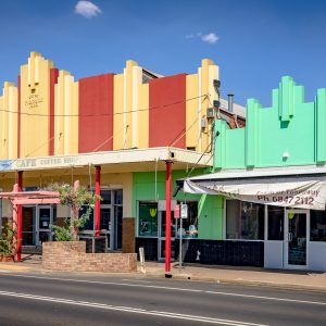 The former Western Monarch Theatre, Gilgandra. It was the only cinema venue in in the town for fifty years, from when Mr F. Brook opened his theatre in December 1934, until it closed in 1984.