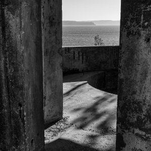 West Head Gun Battery, Ku-ring-gai Chase National Park, Sydney NSW. Rear door of a naval gun emplacement, Number 2 Gun. The Central Coast can be seen beyond.