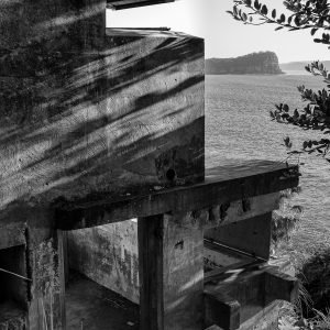 West Head Gun Battery, Ku-ring-gai Chase National Park, Sydney NSW. Two story observation complex. Lion Island in background.