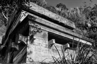 West Head Gun Battery, Ku-ring-gai Chase National Park, Sydney NSW. Opposite view of observation complex, looking back at West Head.
