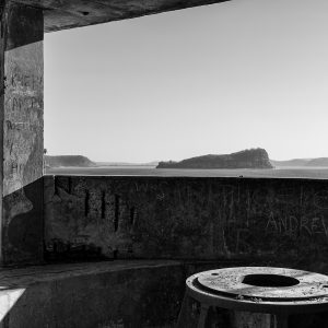 West Head Gun Battery, Ku-ring-gai Chase National Park, Sydney NSW. View from Number 2 Gun, Lion Island in distance.