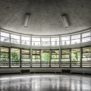Callan Park Hospital. An old semi-circle entertainment room with a panorama looking to the gardens outside and up in the direction of Rozelle.