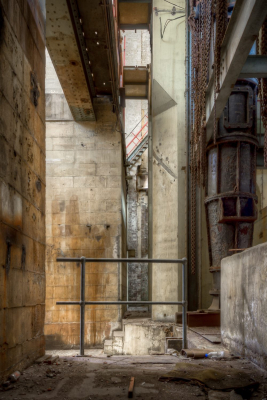 White Bay Power Station. Massive concrete columns in the Turbine Hall basement rise to the operating floor.