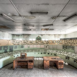 White Bay Power Station. A broad view of the control panel and timber phone desks in the Control Room.