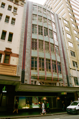 A distinctive interwar facade at approximately 354 Pitt Street, Haymarket.