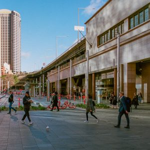 Commuters making their way to work from Circular Quay. At this time during 2019, the new light rail system was still under construction.