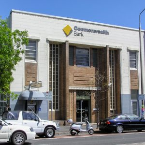 The Commonwealth Bank building on the southern side of Oxford Street. Since this photo was taken, it has been converted into a hotel.