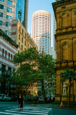 Australia Square Tower at 264 George Street, viewed from Loftus Street. It was designed by architect Harry Seidler and completed in 1967.